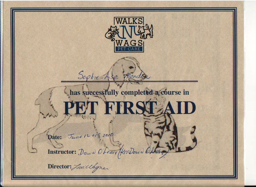 Certificate of Pet First Aid Training